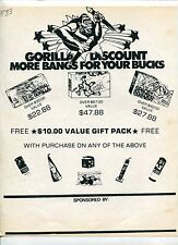 """1983 Vintage Sales Sheet: """"Gorilla Fireworks"""""""