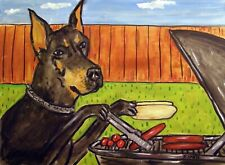doberman pinscher at the cook out picture dog art Set of Notecards