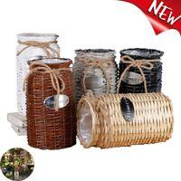 Wicker Woven Storage Basket Flower Plants Straw Pots Vase Bag Home Decor - UK