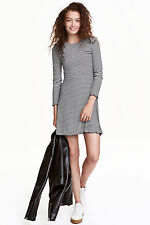 H&M DIVIDED BRETON STRIPE CREPE JERSEY FLARED SKATER MINI DRESS 10 12 6 8 38 40