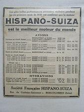 12/1931 PUB HISPANO-SUIZA MOTEUR AVIATION RECORDS DU MONDE ROSSI DORET GONORD AD