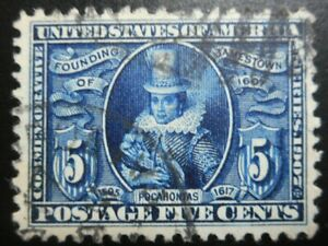 U.S. Stamp: Scott#330,  5c, Blue, The Jamestown Exposition Issues, of 1907