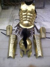 X-Mas Brass Greek Muscle Armor W/ Spartan Helmet Leg Arm Guard Set X-Mas
