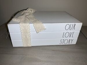 RAE DUNN OUR LOVE STORY White Stacked Books Wedding Anniversary Gift NWT