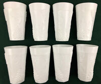 Set of 8 Vintage Indiana Milk Glass Colony Harvest Grape Ice Tea Tumblers 6""