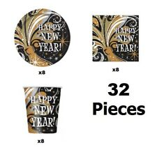 New Years Eve Tableware Pack Express Shipping Plates Cups Napkins Gold Silver