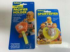Safety 1st Sportsifier Newborn Feeding  baseball Pacifier 1990 + pacifier holder