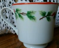 Lillian Vernon Fine Porcelain Holiday Garland footed cup red trim evergreen trim