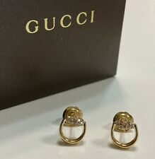 Authentic Gucci 18K Yellow Gold Horsebit Stud Earrings with Brown Diamonds