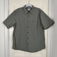 Carhartt Men's Green and White Checked Short Sleeve Shirt Size XL Relaxed Fit