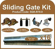 Complete Sliding Gate Hardware Kit for 8m Gate with 78mm recess mounted wheels