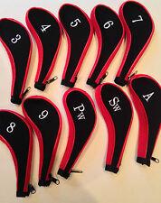 10 néoprène JL club de golf headcovers head cover fer protéger ensemble noir rouge
