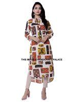 Mujer Indio Kurti Estampado 3/4 Mangas Túnica Vestido Camisero Parche de Gala