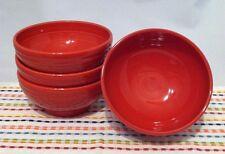 Fiestaware Scarlet Red Medium Rice Bowls Fiesta Red Footed Bowls Lot of 4