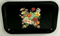 "Vintage Black Metal Floral Lap Serving Tray 14"" x 9"" Snack Table Collectible NUC"