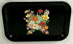 "Lot 5 Vintage Serving Lap Trays Pink Brown Leaf Pattern Metal 14x8.5/"" EUC"