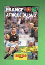 #MM. FRANCE V SOUTH AFRICA   RUGBY UNION PROGRAM  24th October 1992