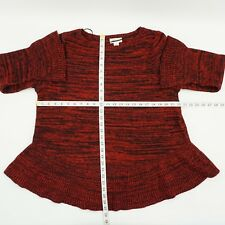Style & Co. Womens Red Marled Ruffled Pullover Sweater Top Plus 1x BHFO 0486
