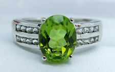 Peridot and C.Z Sliver Ring