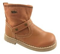 GIRLS FAUX LEATHER HEART/STUD DETAIL WINTER ANKLE BOOTS BROWN UK 4-9