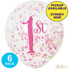 Pink & Gold Girls First Birthday Party 6 Clear Confetti Latex 1st Balloons