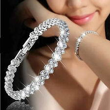 Crystal Fashion Roman Chain Women Clear Zircon Bangle Rhinestone Bracelet Gift