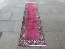 Vintage Shabby Chic Worn Traditional Hand Made Oriental Red Wool Runner 305x77cm