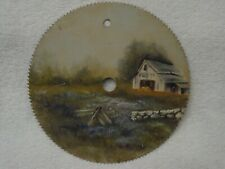 """Antique Wood BARN & Stone Fence SIGNED ADAMS Hand Painted 7"""" Circular Saw Blade"""
