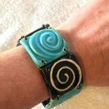 Ceramic Stoneware Bracelet Teal/Turquoise Black Swirls Signed!