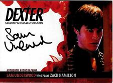 Dexter 7 - 8 : Sam Underwood as Zach Hamilton auto card ASU