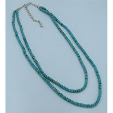 2 Strand .925 Sterling Silver Natural Kingman Turquoise Rondell Necklace