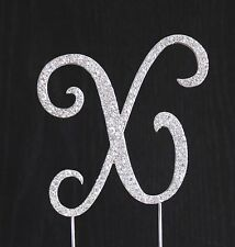 New Style Rhinestone Crystal Monogram Letter X Wedding Cake Topper 4 x 4 in