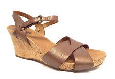 CLARKS Artisan Size 8.5 Bronze Metallic Ankle Strap Cork Sandals Shoes 8 1/2