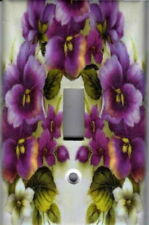 PURPLE PANSIES FLOWER HOME WALL DECOR LIGHT SWITCH PLATE