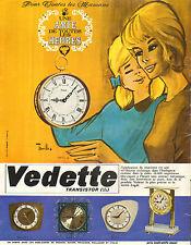 Publicité Advertising 1966  Vedette Transistor réveil pendule horloge montre .