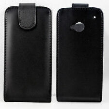 New Black Flip Leather Hard Skin Pouch Cover Case Made For HTC One M7 801e