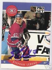 STEPHAN LEBEAU Montreal Canadiens 1991 PRO SET   AUTOGRAPHED HOCKEY CARD JSA