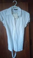 Vintage Dunnes Store Irish women's linen blouse shirt white floral size 14