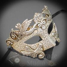 Mens Greek Roman Warrior Venetian Masquerade Ball Mask with Cracks [Silver]