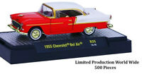 ^L108 32500 35 M2 MACHINES AUTO THENTICS 1955 Chevrolet Bel Air CHASE RED CHEVY