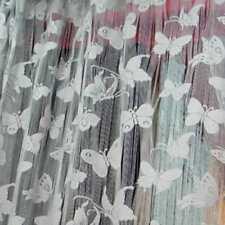 Rideaux Voilages Anciens Chaîne Papillons Art Déco Fenêtre 200x100cm Gris