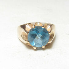 Mens Estate 10K Yellow Gold 4.70 Ct Natural London Blue Topaz Solitaire Ring