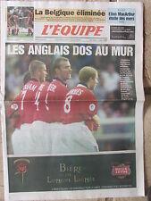 L'Equipe du 20/6/2000 - Euro Foot : Les Anglais face au mur - Belgique - MArthur