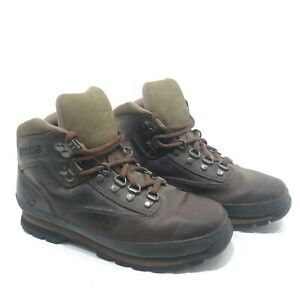 Timberland Brown Green Euro Hiker Leather Hiking Boots 95100 - Mens Size 7M