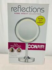 New Double-Sided Lighted Makeup Mirror, Polished Chrome Finish.Soft yellow light