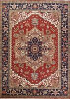New Geometric Heriz Serapi Oriental Wool Area Rug Hand-Knotted Rust Carpet 9x12