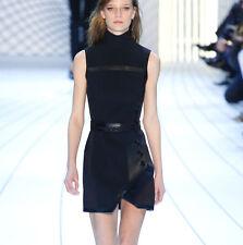 MUGLER leather trim black bonded crepe mock neck AW15 runway mini dress XS NEW