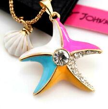 Betsey Johnson Enamel Pendant Jewelry Rhinestone shell starfish Chain necklace