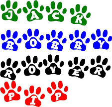 PET NAME Paw print Vinyl sticker Wall art kennel CAT/DOG!Buy 2 Get 1 Free!