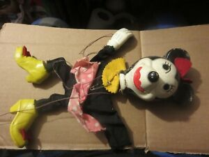 Antique Minnie Mouse Puppet wooden body with Papier Mache Head for parts/repair